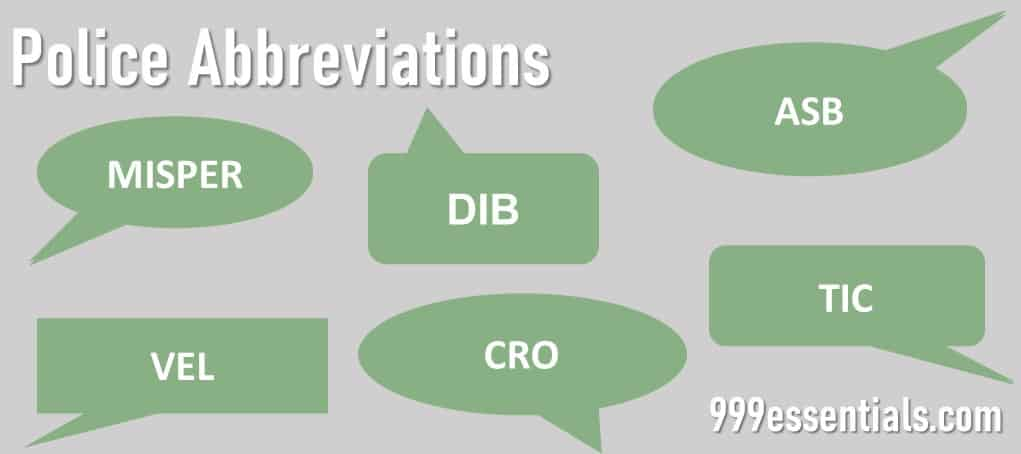 """Image showing differemt police three letter abbreviations in green speech bubbles with the titile """"Police Abbreviations"""" in white"""